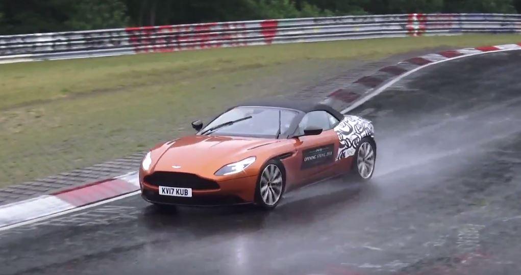 Naked 2018 Aston Martin Db11 Volante Tries To Play Nice On Wet