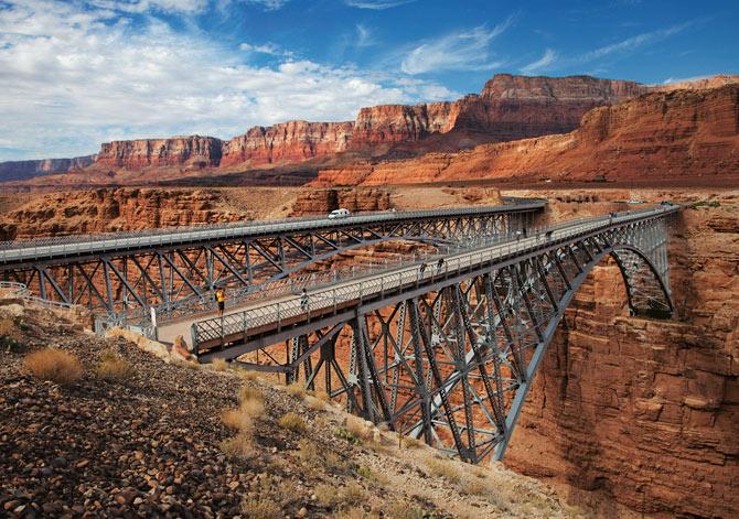 Navajo Bridge Crossing The Grand Canyon By Car