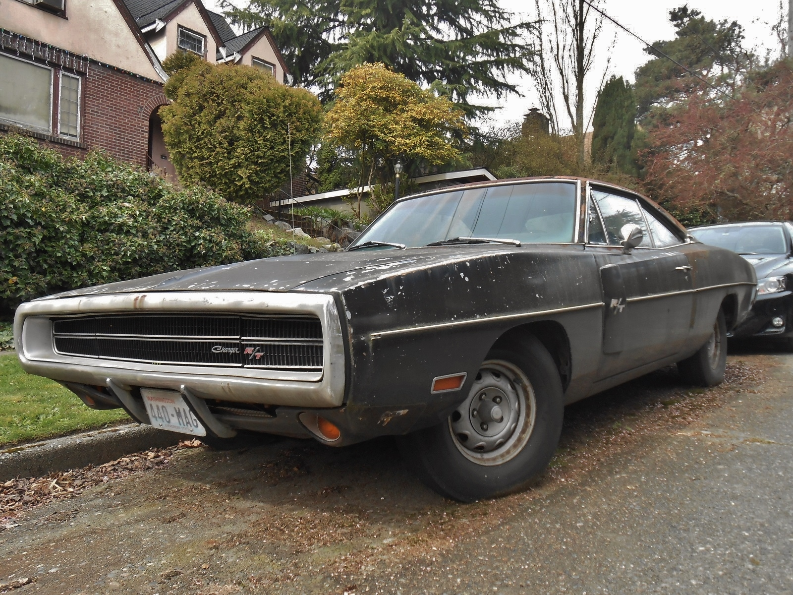 Neglected Plum Crazy 1970 Dodge Charger R T 440 Rusting In