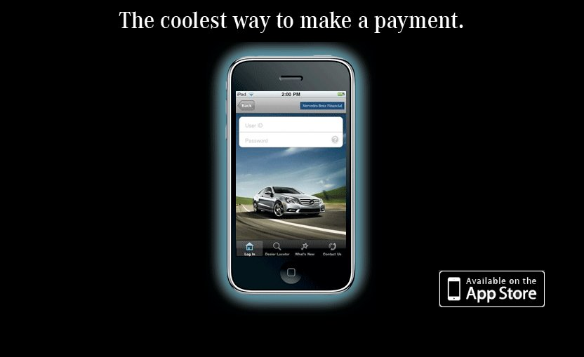 New apple iphone financial app from mercedes benz for Mercedes benz financial contact number