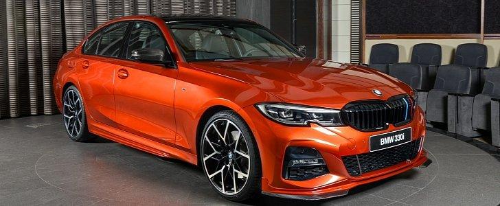 New Bmw 330i M Sport Has M Performance Parts And Sunset Orange Paint Autoevolution