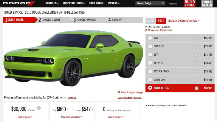 Dodge Charger Hellcat Lease >> New Dodge Challenger Configurator Goes Online Hellcat Can Be