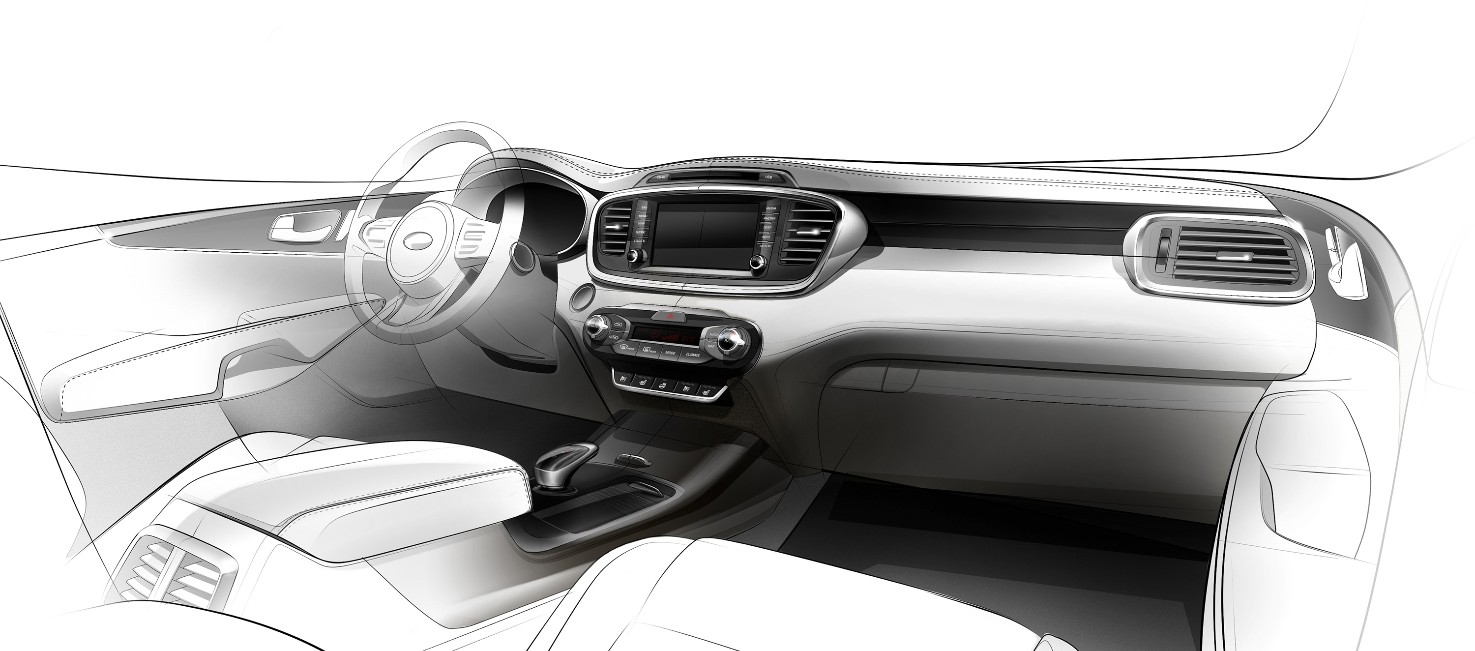 New Kia Sorento Interior Design Revealed In First Teaser Sketch