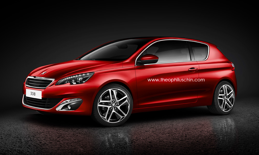 new peugeot 308 3 door rendering revealed autoevolution. Black Bedroom Furniture Sets. Home Design Ideas