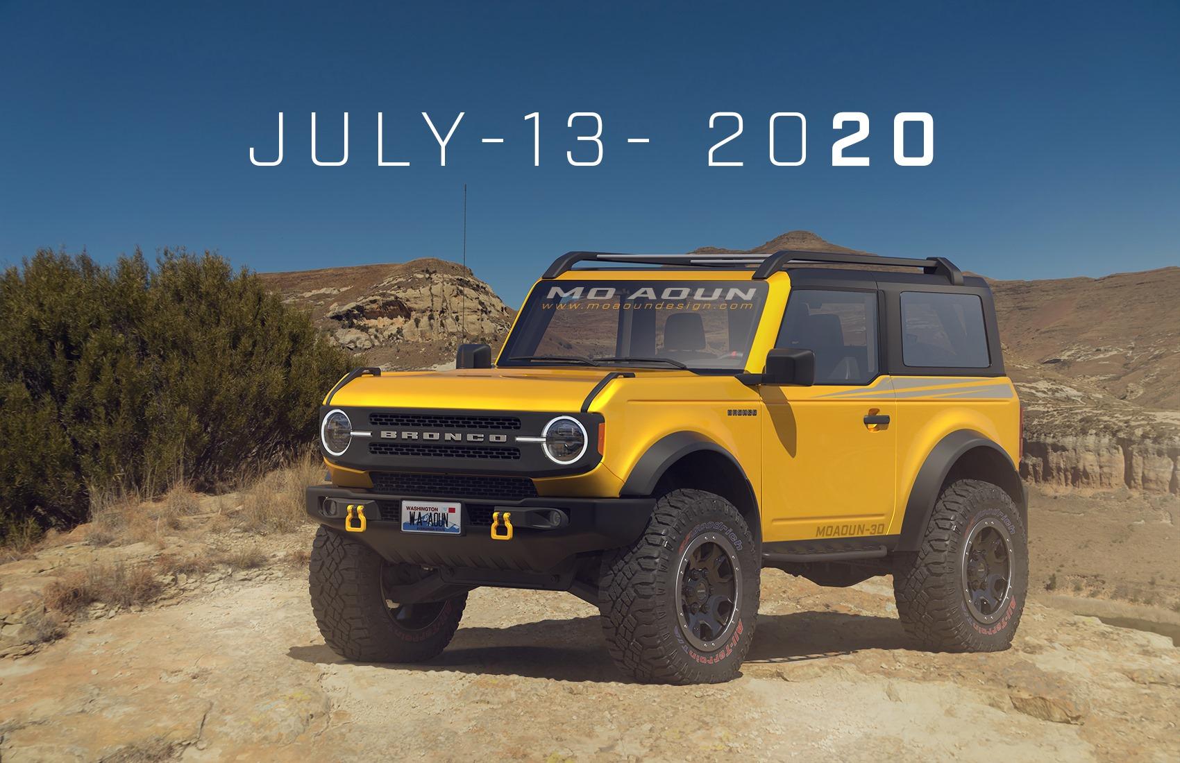 new rendering of 2021 ford bronco twodoor looks amazing
