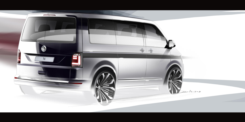 2015 volkswagen transporter t6 teased with official sketch. Black Bedroom Furniture Sets. Home Design Ideas