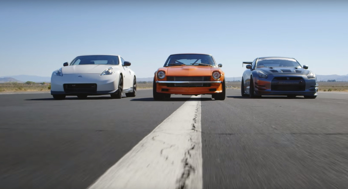 Nissan 240z 370z Gt R And Trophy Truck Face Off In Drag