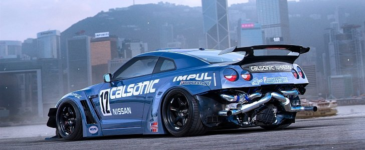 Nissan Gt R Drift Car With Exposed Rear Mounted Turbos