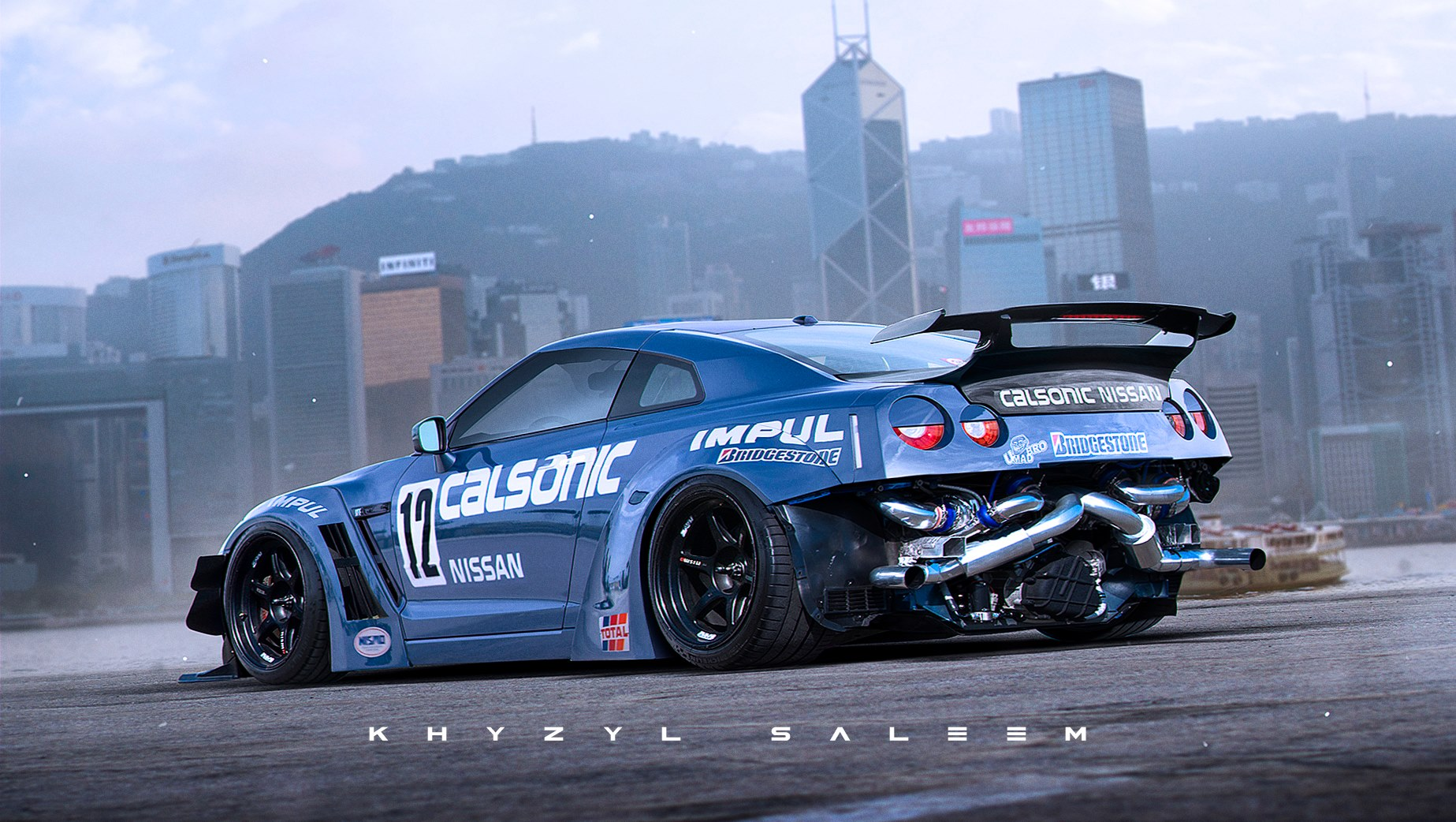 Nissan Gt R Drift Car With Exposed Rear Mounted Turbos Rendered