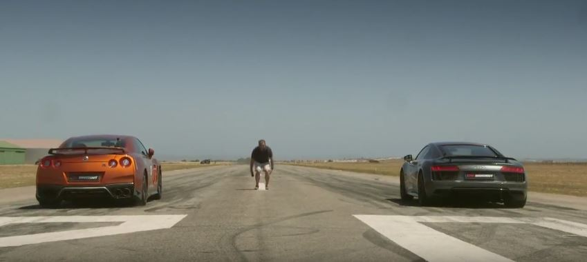 Nissan GTR Vs Audi R V Plus Mile Drag Race Is An Emotional - Audi r8 quarter mile