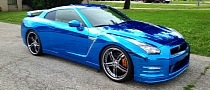 Nissan GT-R Wrapped in Blue Chrome [Photo Gallery]