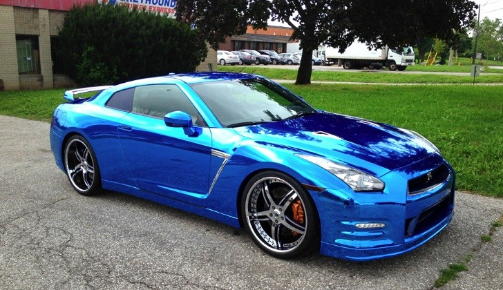 Nissan Gt R Wrapped In Blue Chrome Autoevolution