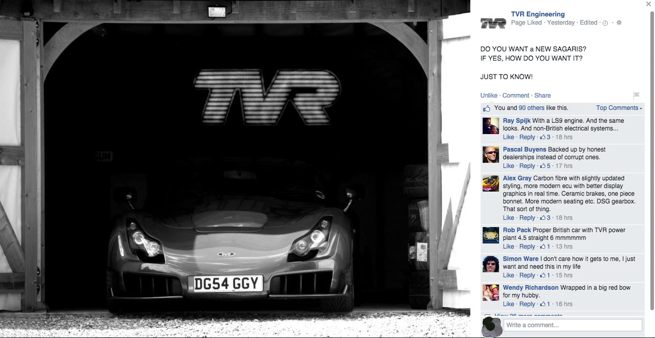 "update: unofficial tvr facebook page asks fans about ""a new sagaris"