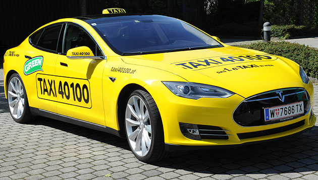 Image result for yellow tesla taxi