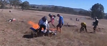 Off-Road Bike Crash Start Serious Grass Fire [Video]