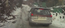 Old Subaru Legacy Loses Traction on Icy Uphill Road - Nearly Crashes [Video]
