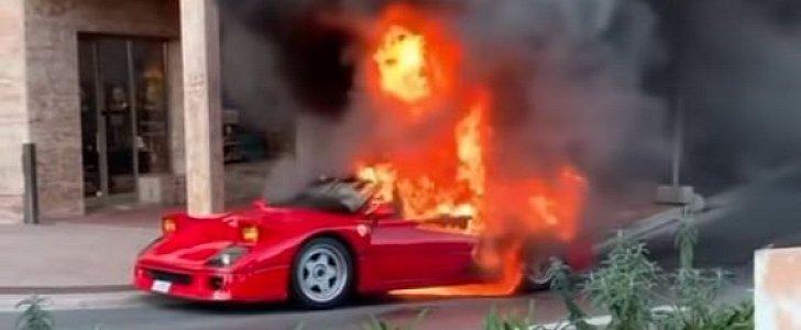 On Enzo S Birthday A Ferrari F40 Spontaneously Burned To A Crisp In Monaco Autoevolution