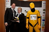 Opel's Rita Forst receiving the Euro NCAP award