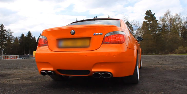Orange BMW E60 M5 with Eisenmann Race Exhaust Sounds Crazy [Video]