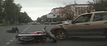 Painfully Stupid Driver Causes Scary Motorcycle Accident [Video]