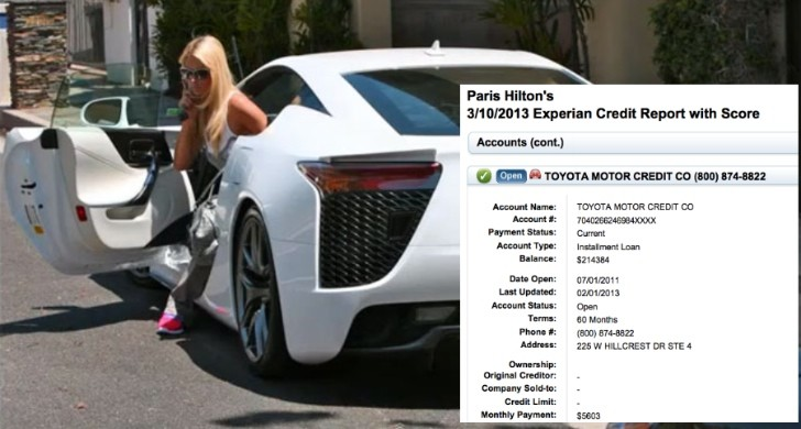 Paris Hilton Financial Info Leaks: $5,603 a Month for Her Lexus LFA