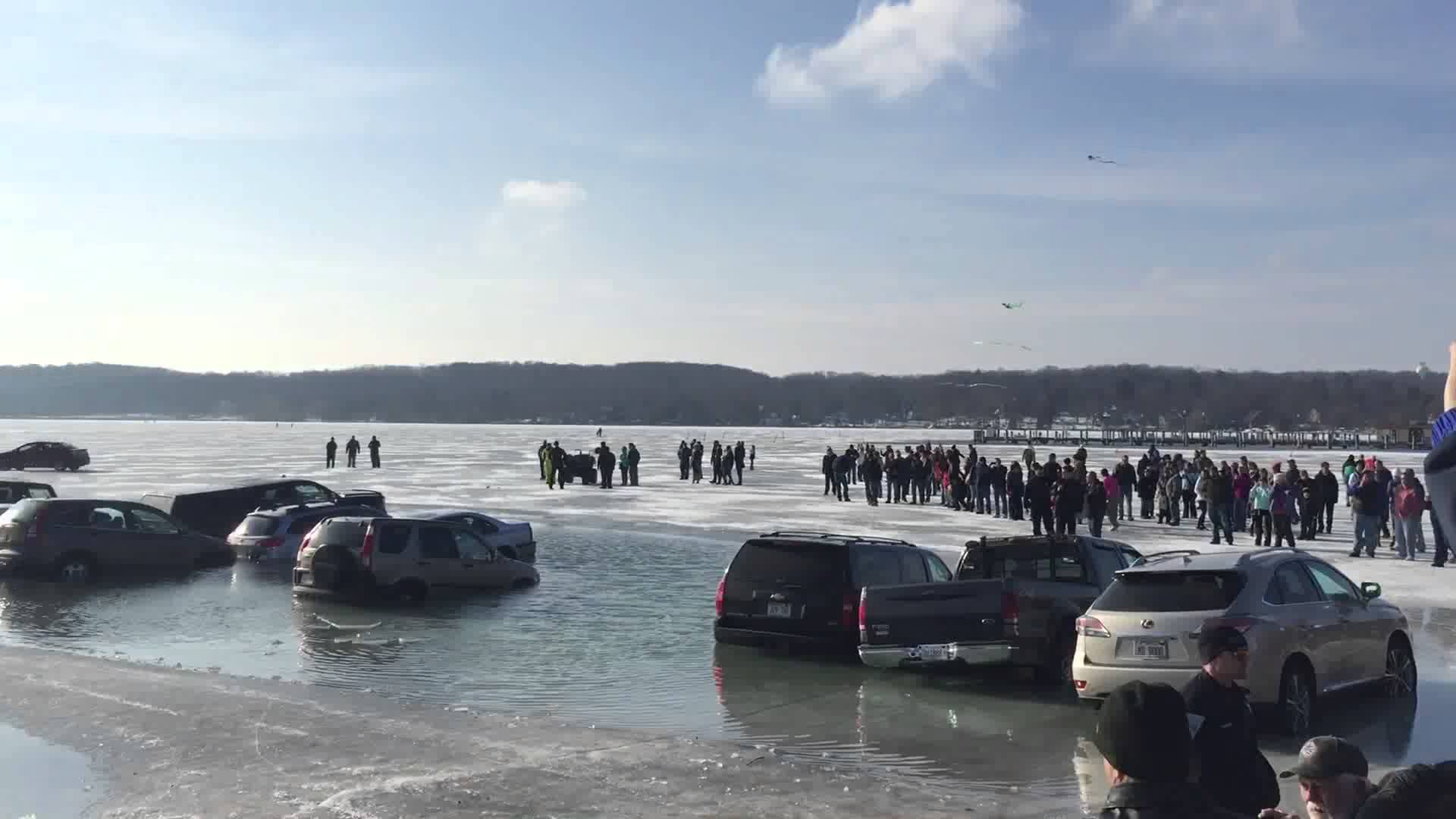 Cars Parked On Frozen Lake