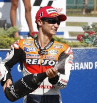 Dani Pedrosa celebrating second place in Brno