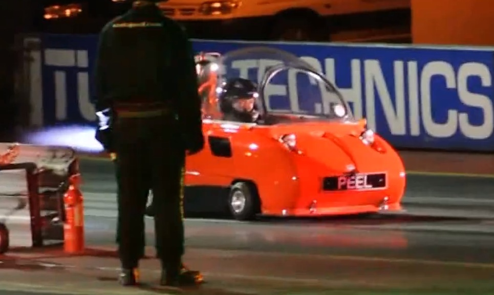 peel trident with rocket engine sets absurd drag racing record