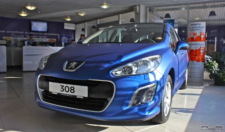 Peugeot 308 Blue Satin Metallic Wrap [Photo Gallery]