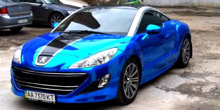 Peugeot RCZ Gets Blue Chrome Wrap [Video]