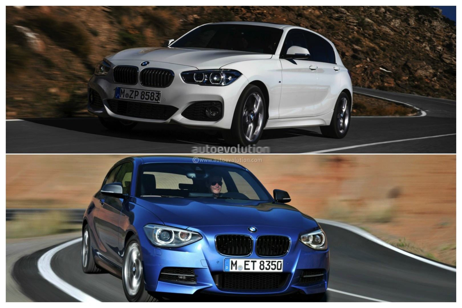 photo comparison bmw f20 1 series facelift versus bmw f20 1 series pre facelift autoevolution. Black Bedroom Furniture Sets. Home Design Ideas