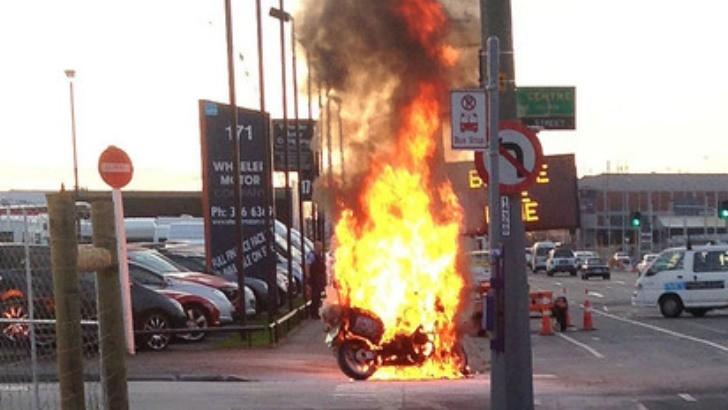 Police Bmw Motorcycle Mysteriously Ablaze In New Zealand