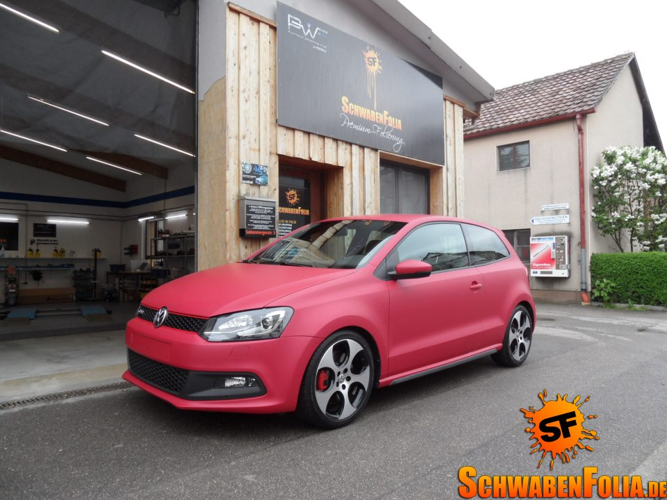 polo 6r gti wrapped in matte cherry red autoevolution. Black Bedroom Furniture Sets. Home Design Ideas