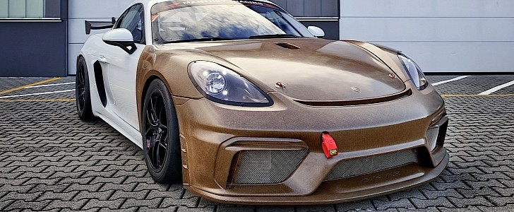 Porsche 718 Cayman GT4 Clubsport MR Gets Natural Fiber Makeover, Looks Like Wood