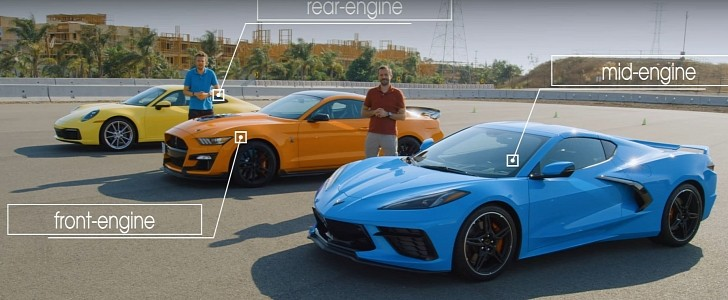 Porsche 911 Carrera Takes on C8 Corvette and Shelby GT500 in Sports Car Review