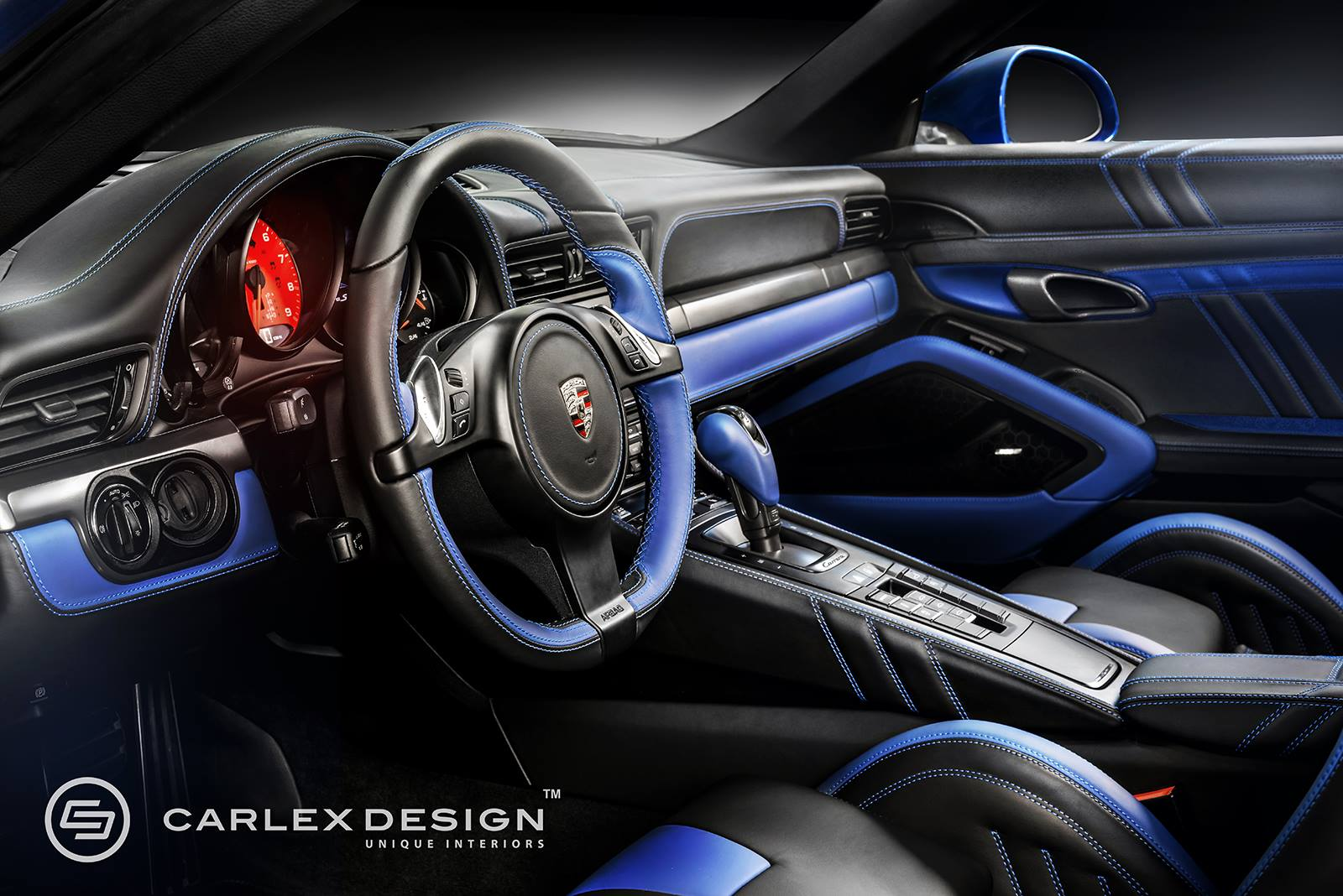 porsche 911 gets electric blue interior by carlex design autoevolution. Black Bedroom Furniture Sets. Home Design Ideas