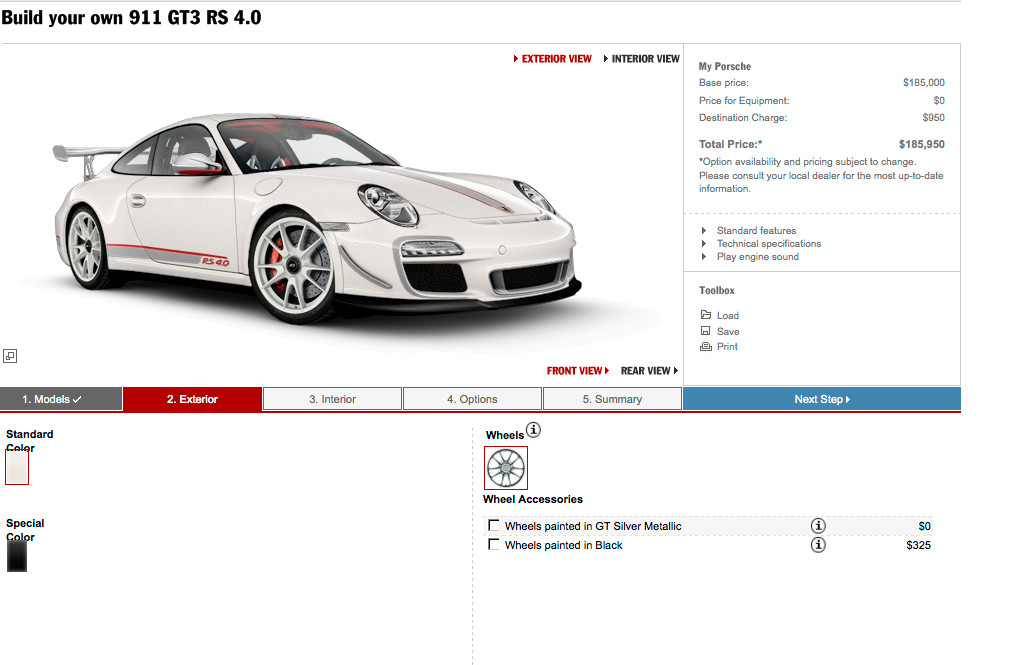 porsche 911 gt3 rs 4 0 configurator goes online autoevolution. Black Bedroom Furniture Sets. Home Design Ideas