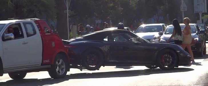 Porsche 911 gts cabriolet gets impounded by police in for Police cannes