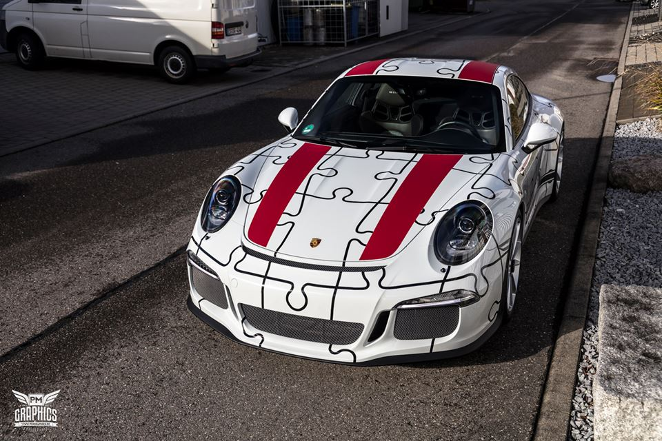 Porsche 911 R Gets Awesome Puzzle Design Wrap In Germany