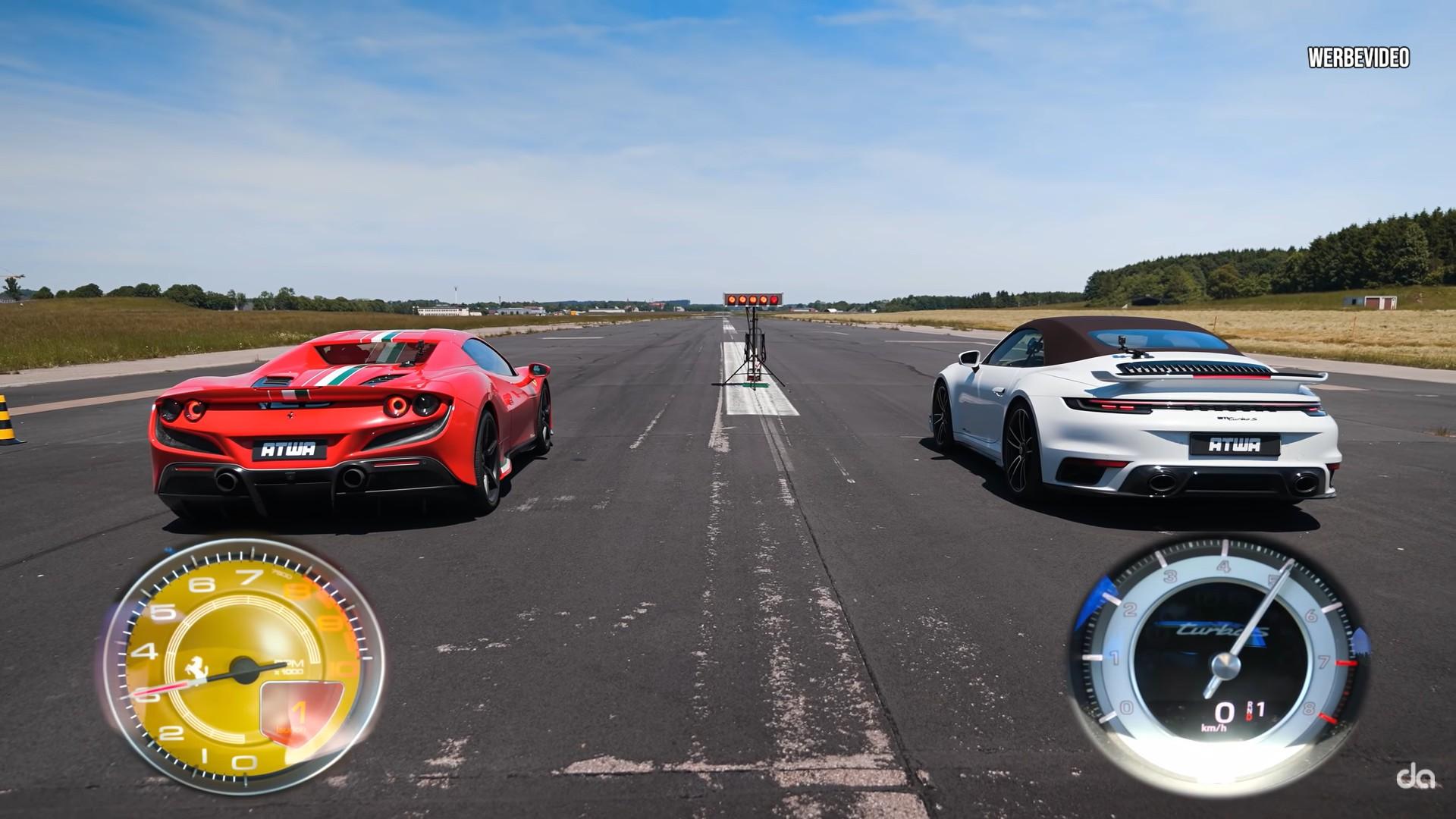 Porsche 911 Turbo S Drag Races Ferrari F8 Spider, Just 0.02s Delivers the Win