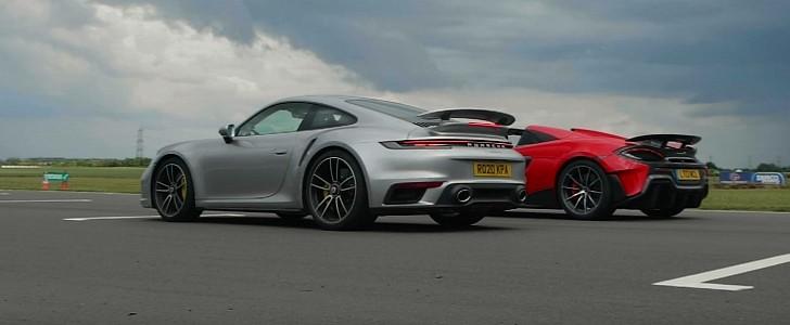 Porsche 911 Turbo S Drag Races McLaren 600LT, Lightness Makes No Difference - autoevolution