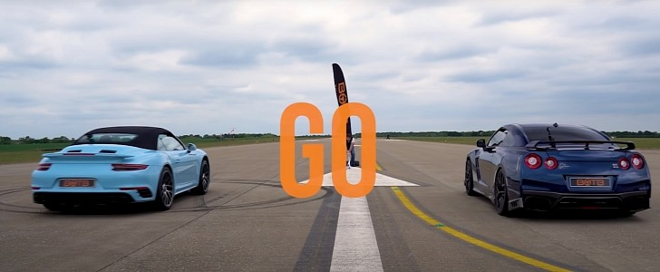 Porsche 911 Turbo S Vs. 700 HP Nissan GT-R Drag Race Decided by a Button