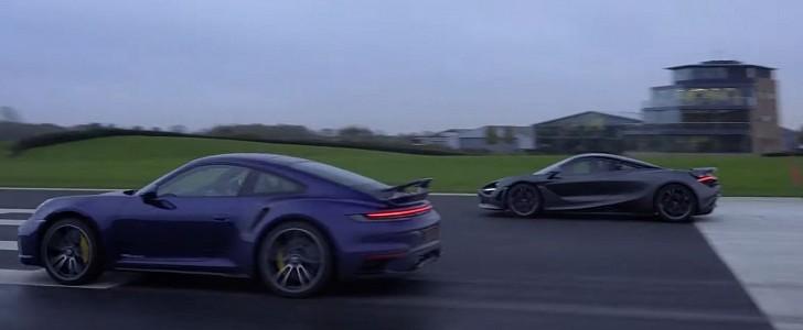 Porsche 911 Turbo S vs. McLaren 720S Wet Drag Race Ends in Obliteration