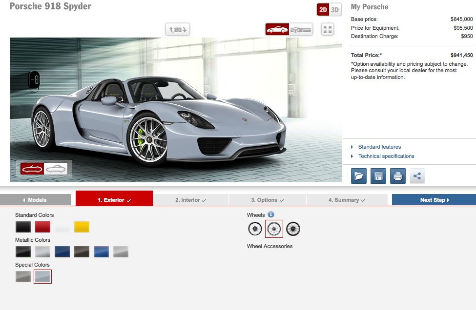 porsche 918 spyder configurator online how to spend 1m autoevolution. Black Bedroom Furniture Sets. Home Design Ideas
