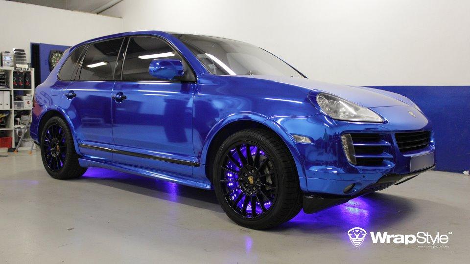 Porsche Cars Blue Blue Chrome Car Wrap