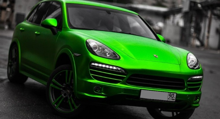 Porsche Cayenne Lime Green Satin Chrome Wrap [Photo Gallery]
