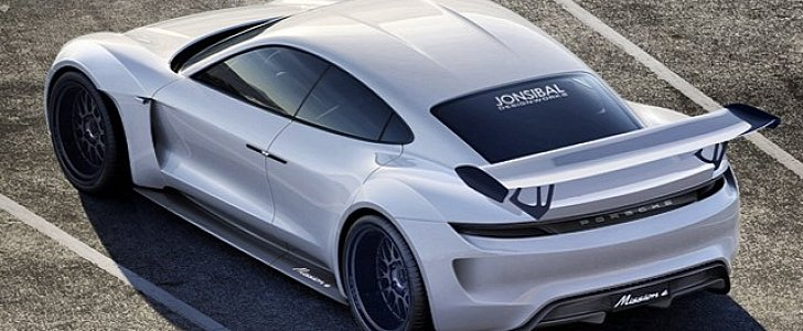 porsche mission e gets rs treatment in wild rendering autoevolution. Black Bedroom Furniture Sets. Home Design Ideas
