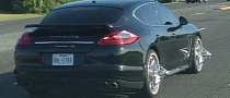 Porsche Panamera Gets Carmageddon-Inspired Spinners in Texas