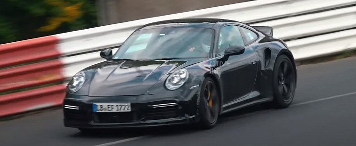 Porsche Spied Testing Mysterious 911 Turbo S with Manual and Ducktail Wing - autoevolution