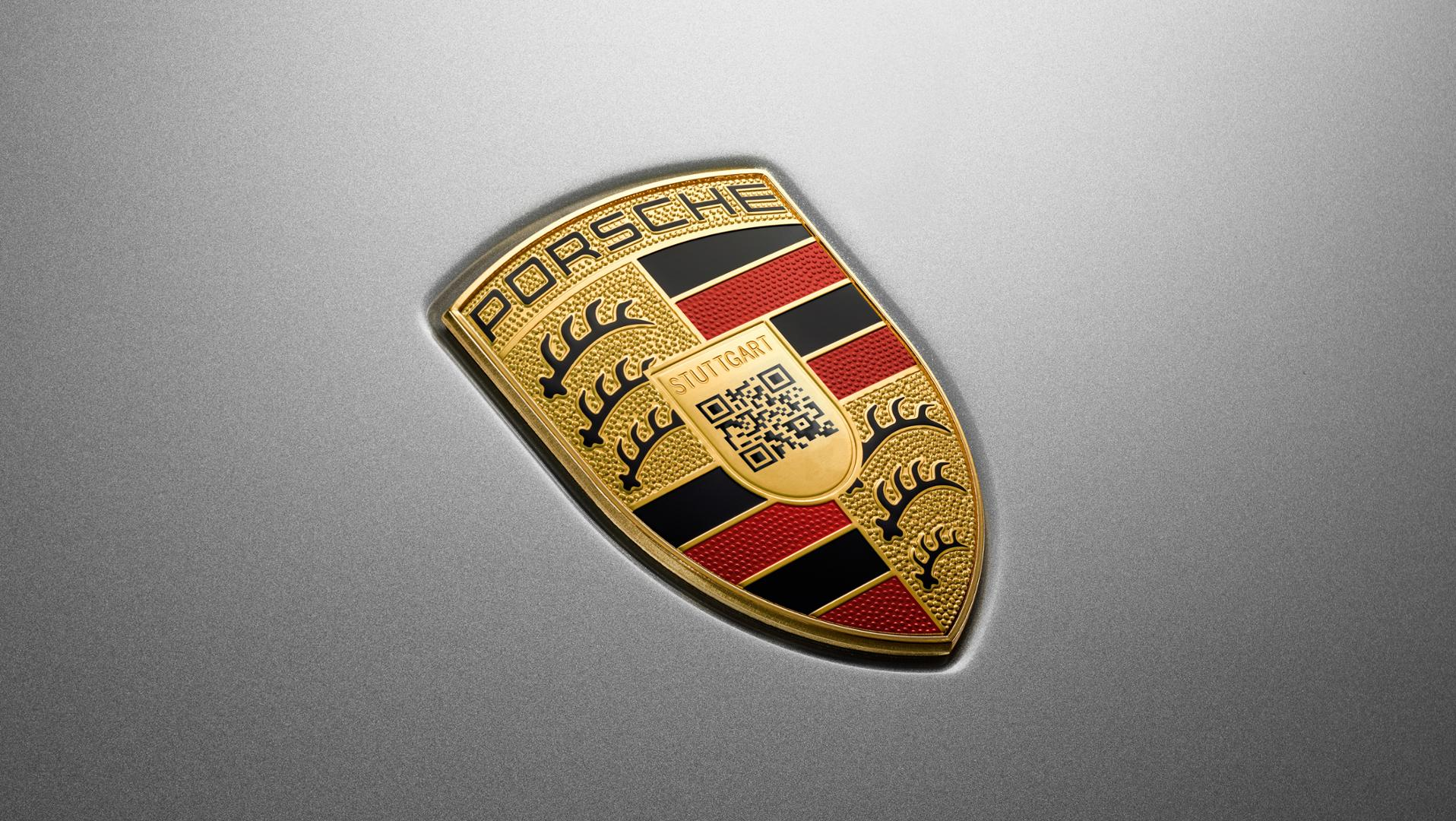 Porsche Taycan Logo Revealed, Crest Horse Replaced by QR